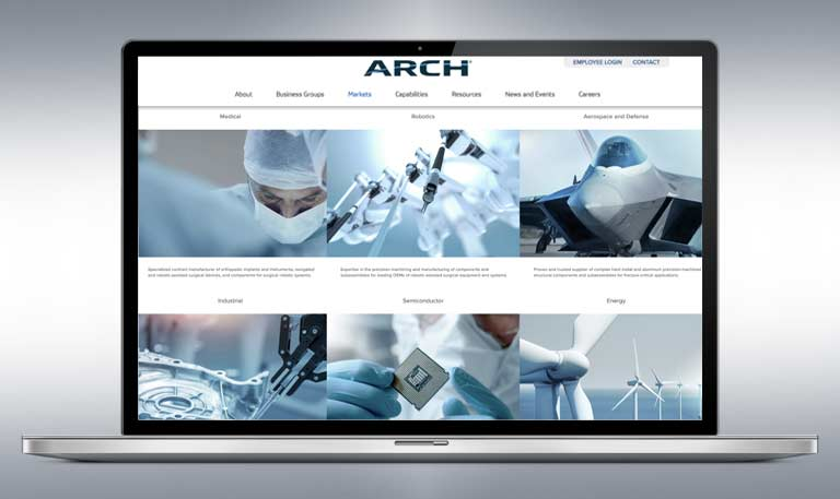 ARCH Website on laptop